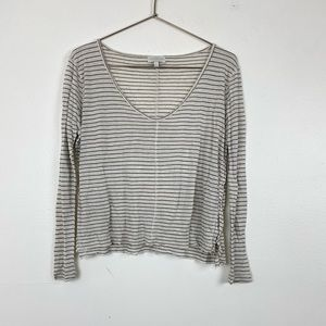 Lucky Brand Flax & Rayon Blend Striped Long Sleeve